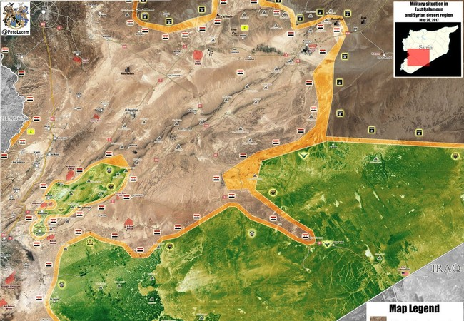 Bản đồ chiến sự khu vực phía đông tỉnh Homs và Damascus
