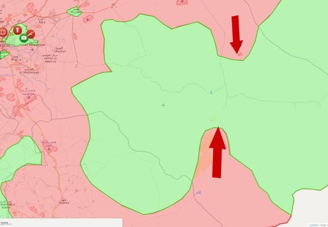 Hướng tấn công của quân đội Syria trên khu vực chiến trường phía đông Damascus - Sweida