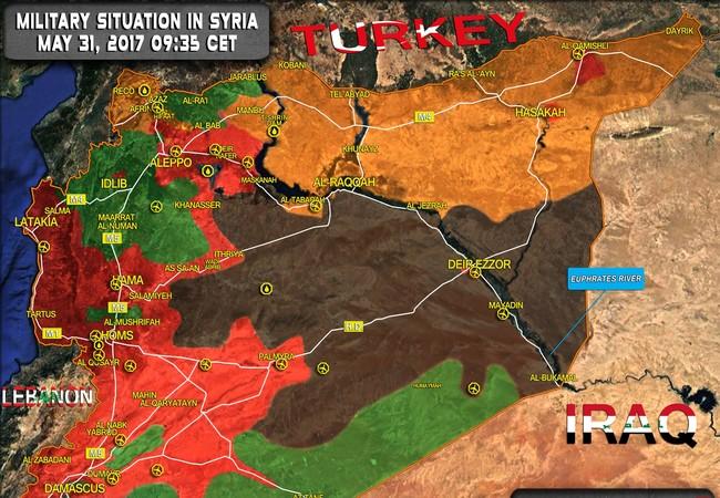 Bản đồ chiến sự Syria, tính đến ngày 31.05.2017