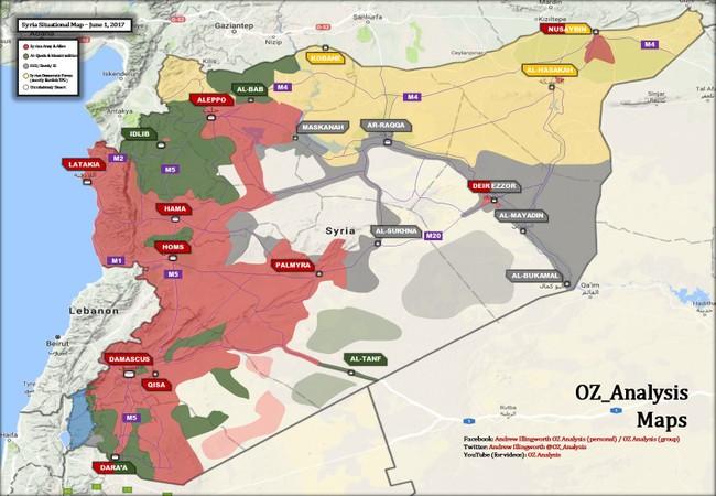Bản đồ chiến sự chiến trường Syria tính đến ngày 31.05.2017