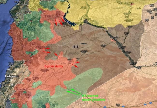 Chiến trường sa mạc phía đông vùng ngoại ô Damascus, lực lượng FSA được Mỹ hậu thuẫn tấn công quân đội Syria