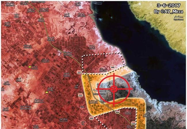 Bản đồ chiến trường, mục tiêu thị trấn Maskanah trong chiến dịch phía đông Aleppo