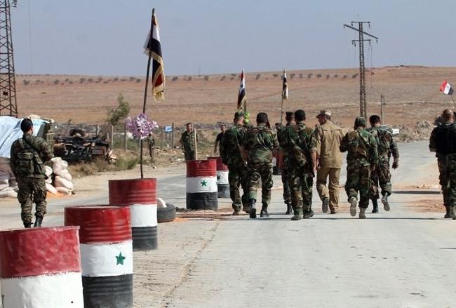 Binh sĩ quân đội Syria trên khu vực Đông Ghouta ngoại ô thủ đô Damascus