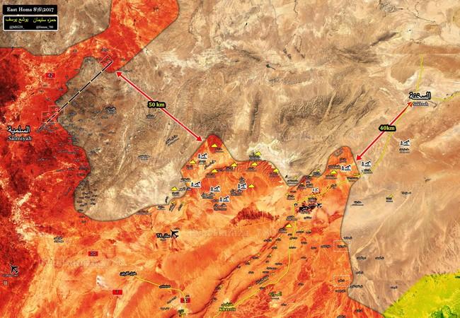 bBản đồ tình hình chiến sự trên vùn sa mạc Palmyra