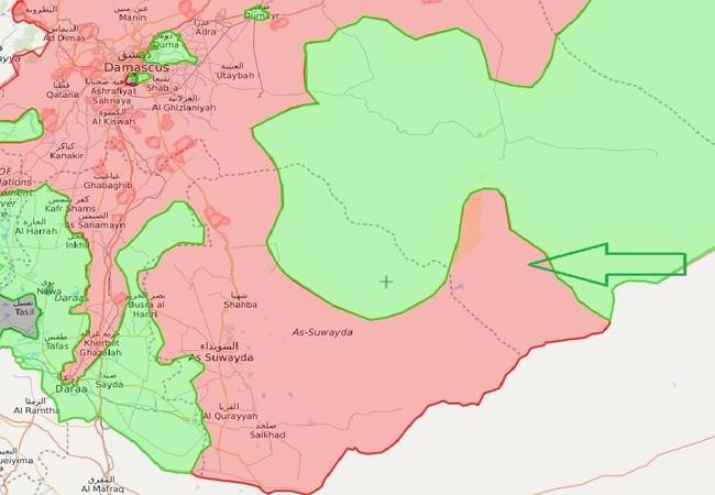 Sơ đồ mũi tấn công của lực lượng Hồi giáo cực đoan FSA đánh vào chiến tuyến của quân đội Syria trên tỉnh Sweida