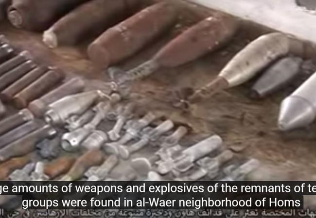 Kho vũ khí lớn phát hiện được trong quân Al-Waer thành phố Homs