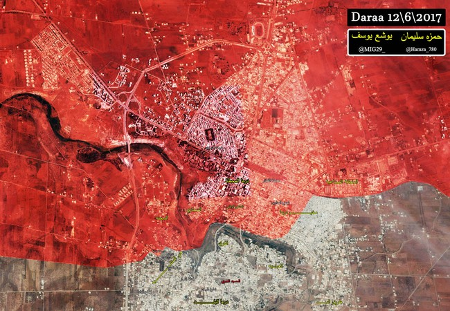 Bản đồ chiến sự thành phố Daraa, những địa danh mầu vàng là các khu phố mới được quân đội Syria giành lại