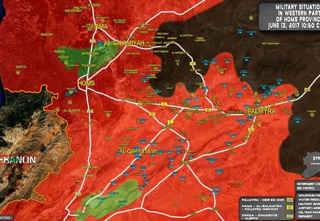 Bản đồ chiến sự chiến trường phía đông tỉnh Homs ngày 13.06.2017