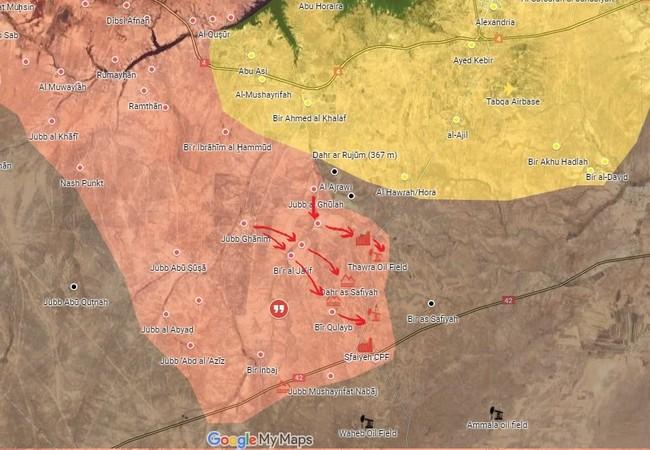 Các mũi tiến công của lực lượng Tiger trên vùng nông thôn tỉnh Raqqa