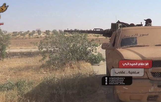 Lực lượng vũ trang đảng Xã hội Dân tộc (SSNP) chiến đấu trên vùng nông thôn phía đông Hama