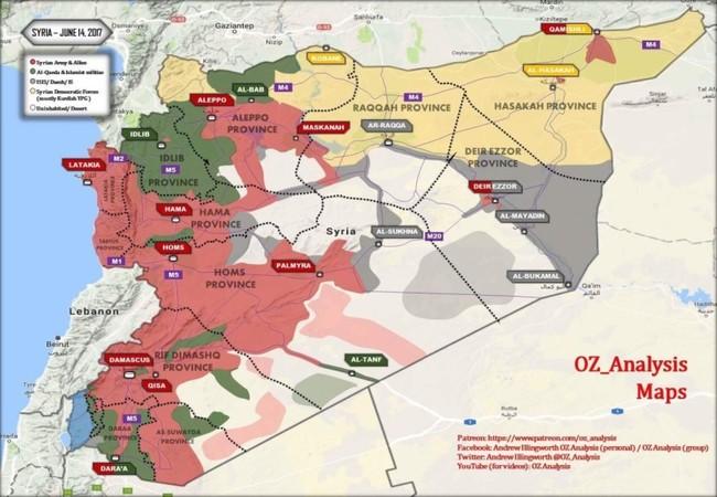 Toàn cảnh chiến trường Syria tính đến ngày 14.06.2017