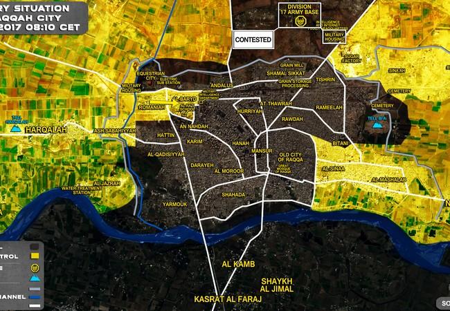Bản đồ chiến sự chiến trường Raqqa tình đến ngày 17.06.2017