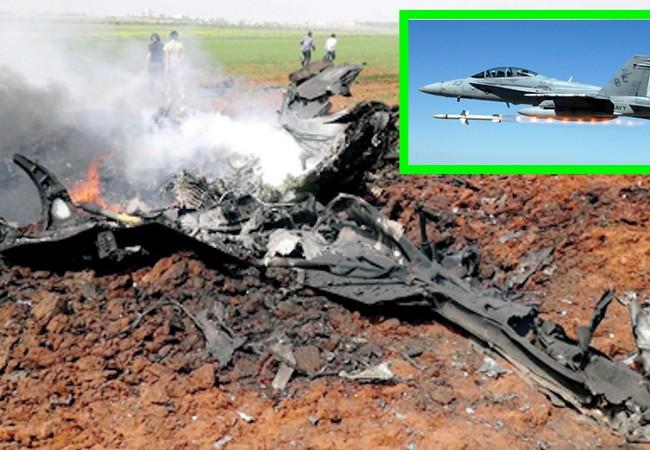 Chiếc máy bay Su 22 của không quân Syria bị F/A 18 Mỹ bắn hạ trên chiến trường Raqqa