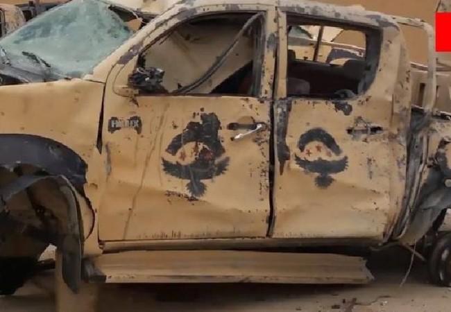Xe cơ giới của nhóm chiến binh thuộc Quân đội Syria tự do FSA, bị IS phá hủy trong cuộc đột kích