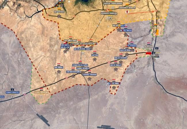 Bản đồ tình hình chiến sự khu vực chiến trường phía tây Raqqa