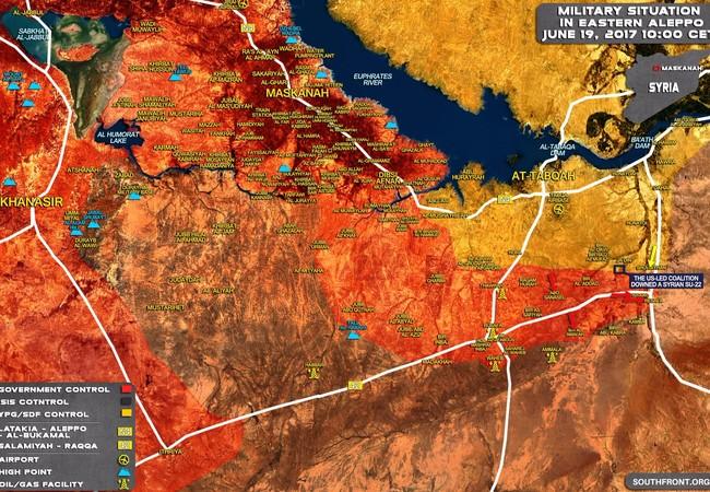 Bản đồ chiến sự khu vực tây Raqqa, lực lượng Tiger giải phóng Resafa
