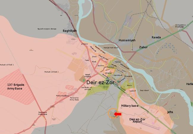 Cuộc tấn công của quân đội Syria vào trận địa phòng thủ của IS phía tây căn cứ quân sự Deir Ezzor