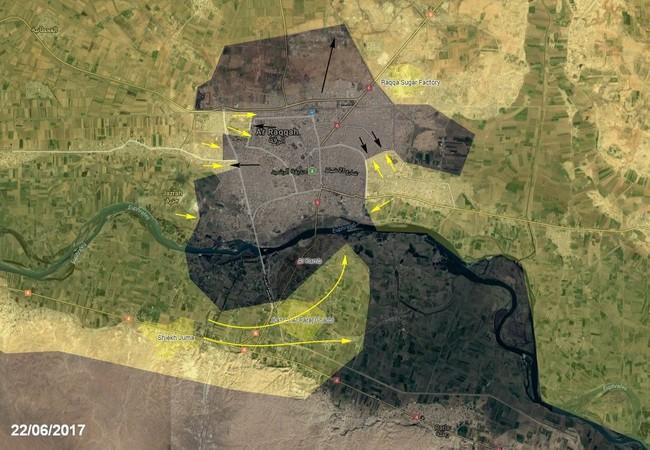 Bản đồ các mũi tấn công chính của lực lượng SDF vào Raqqa