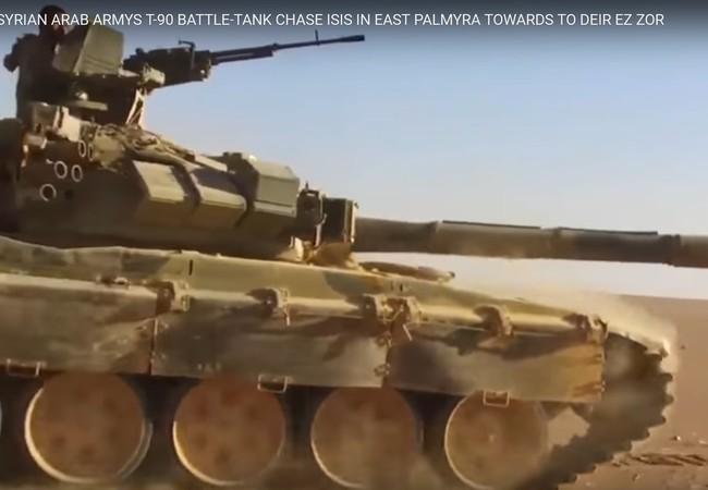 Xe tăng T-90 quân đội Syria trên chiến trường Palmyra