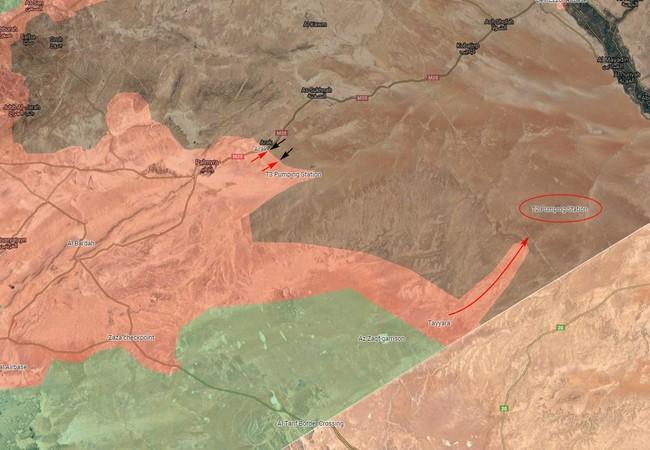 Hướng tấn công của quân đội Syria dọc theo tuyến biên giới về căn cứ quân sự T-2