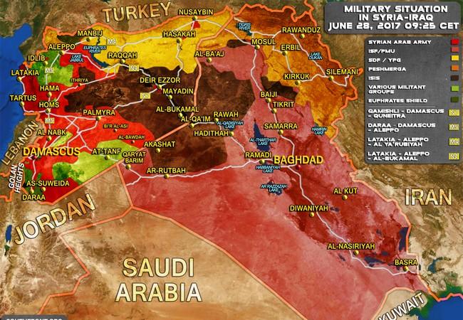 Bản đồ chiến sự Syria - Iraq tính đến ngày 28.06.2017
