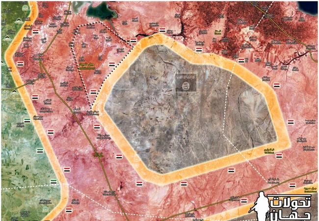 Bản đồ cuộc tấn công truy quét IS của quân đội Syria trên vùng nông thôn Aleppo