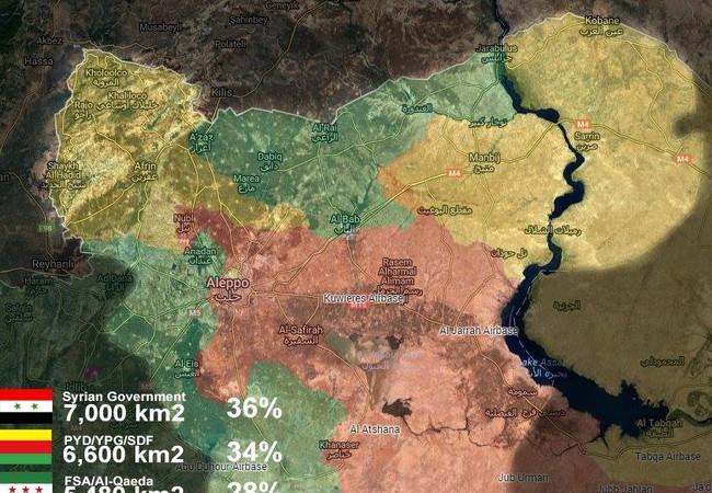 Phân chia vùng kiểm soát của các lực lượng đối lập trên địa phận Alepo