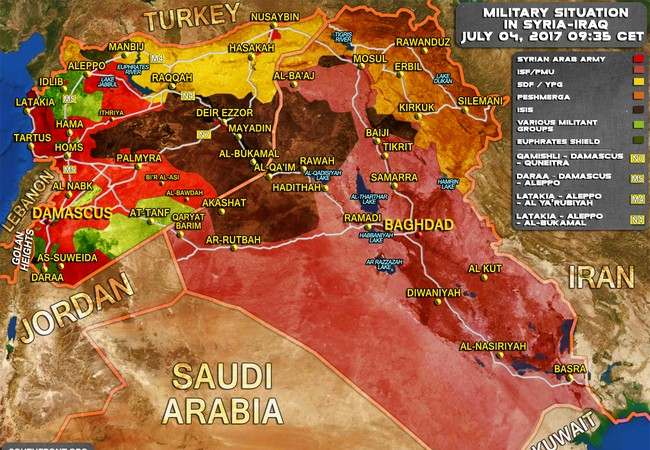 Bản đồ tình hình chiến sự chống IS chiến trường Syria - Iraq tính đến ngày 04.07.2017