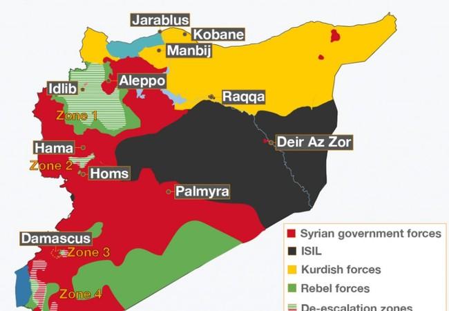 Những khu vực an toàn phía tây nam Syria theo thỏa thuận ngừng bắn được Nga, Mỹ và Jordan hậu thuẫn