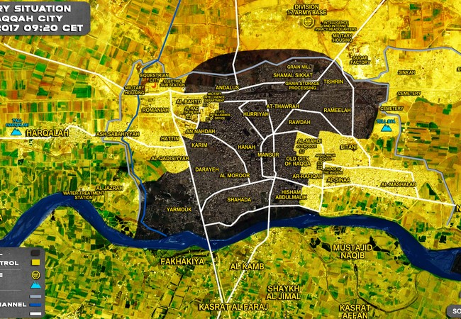 Chiến trường Raqqa tính đến ngày 13.07.2017, phân bổ lực lượng giữa IS và SDF trong thành phố