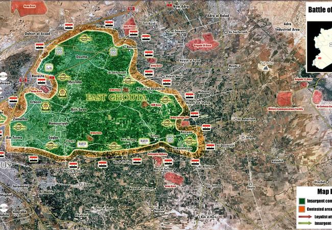 Tình huống chiến trường khu vực ngoại ô phía đông thủ đô Syria Damascus