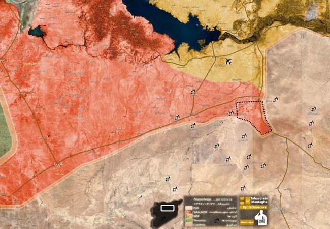 Bản đồ chiến tuyến của lực lượng Tiger trên chiến trường Raqqa - Homs