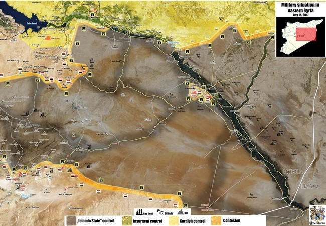 bản đồ các hướng tấn công của lực lượng Tiger trên vùng nông thôn phía nam tỉnh Raqqa