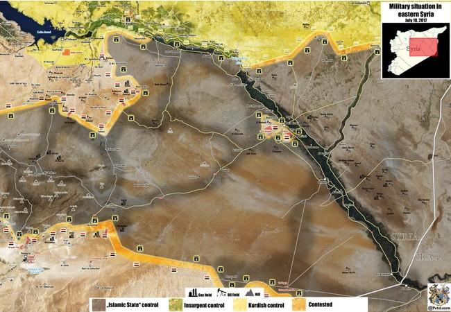 Bản đồ tình hình chiến sự khu vực phía đông tỉnh Homs, Raqqa và Hama