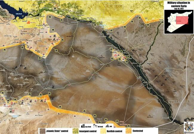Bản đồ chiến trường khu vực Raqqa - Homs, các mũi tấn công của quân đội Syria