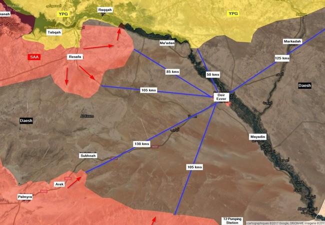 Các hướng tấn công IS và khoảng cách về thành phố Deir Ezzor trên chiến trường sa mạc phía đông tỉnh Homs
