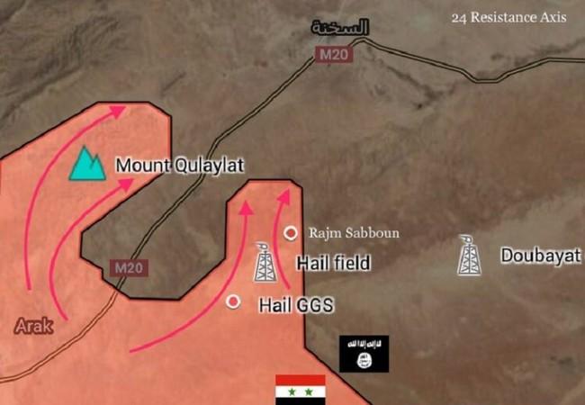 Sơ đồ chiến sự khu vực thị trấn Al-Sukhnah tính đến ngày 30.07.2017 - Ảnh South Front