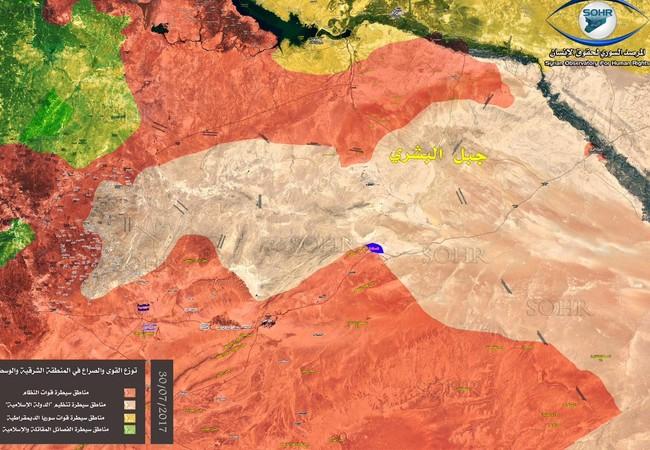 Bản đồ tình hình chiến sự trung tâm Syria tính đến ngày 30.07.2017