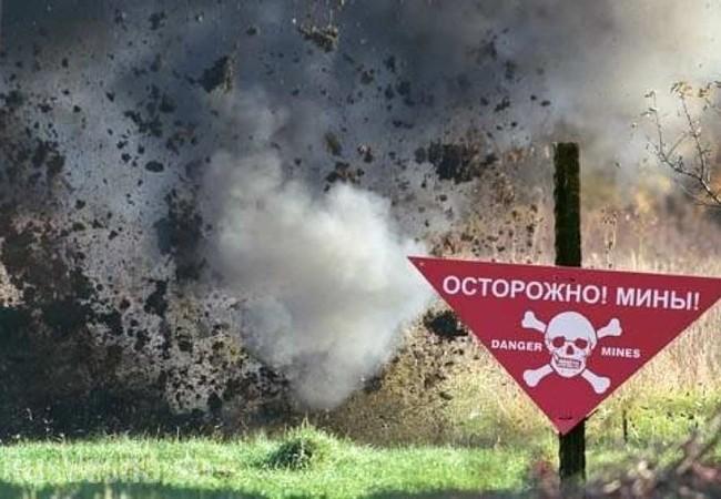 Một bãi mìn của quân đội Kiev trên tuyến giáp ranh Donbass - Ảnh - Rusvesna