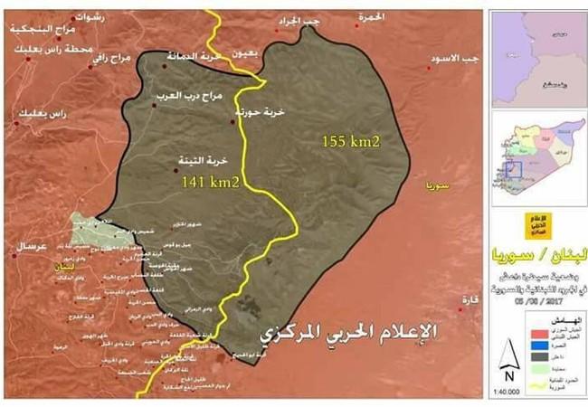 Vùng biên giới Syria Lebanon, khu vực đang bị IS chiếm đóng, bản đồ Syria trên mạng xã hội