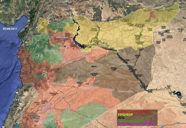 Bản đồ phân bổ tình hình cuộc chiến chống khủng bố IS, Al-Qaeda trên chiến trường Syria