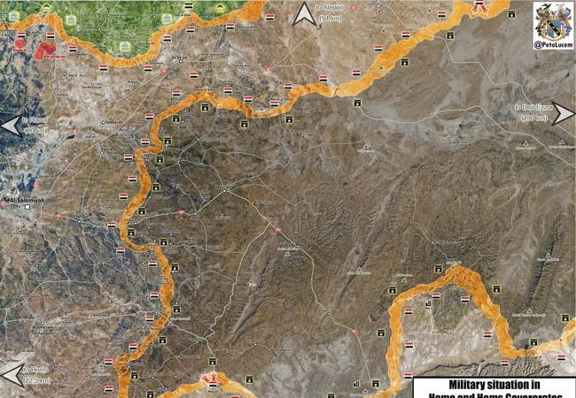 Bản đồ chiến sự vùng phía đông tỉnh Homs, Hama, các mũi tấn công của quân đội Syria trên hướng tây khu mỏ dầu Al-Sha'er.