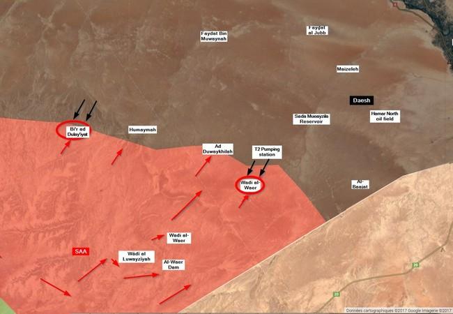Các mũi tiến công của IS đánh vào chiến tuyến của quân đội Syria trên vùng sa mạc phía đông tỉnh Homs - bản đồ minh họa @Globaleventmap