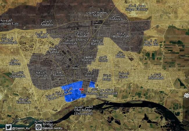 Chiến trường Raqqa tính đến ngày 10.08.2017 theo tuyên bố của lực lượng SDF, vùng màu xanh là khu phố mà lực lượng SDF vừa giành được