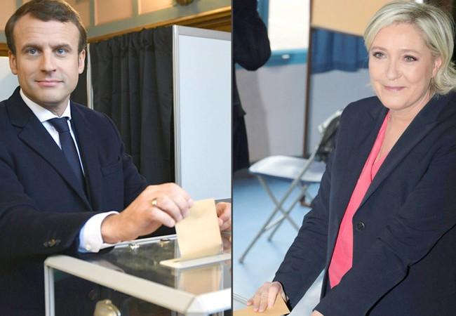 Hai ứng viên Tổng thống Pháp: Ông Macron và bà Le Pen
