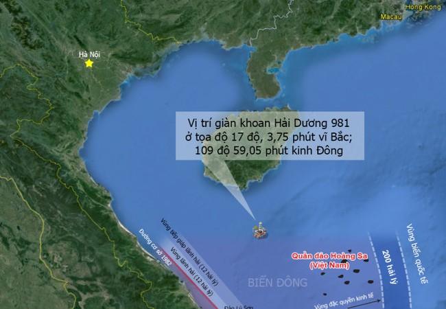 Vị trí giàn khoan Hải Dương 981
