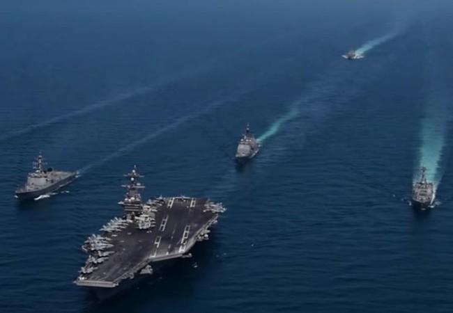 Cụm tấn công tàu sân bay USS Carl Vinson và tàu khu trục Hàn Quốc. Ảnh: RT