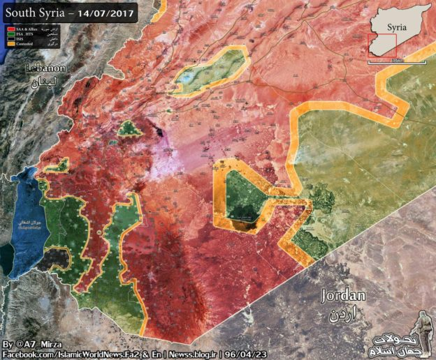 Bản đồ chiến dịch giải phóng vùng nông thôn phía đông tỉnh Sweida, Syria