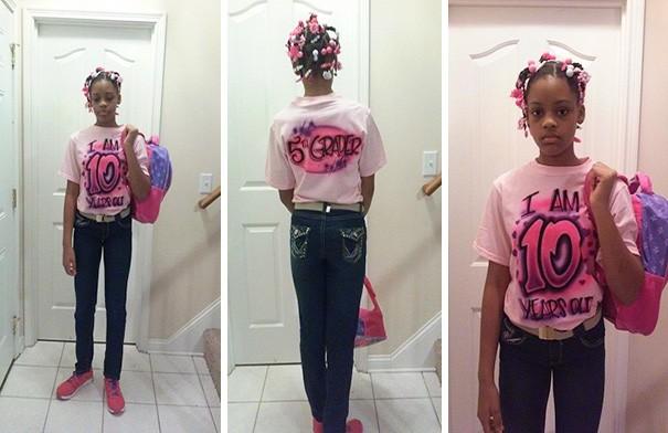"""Khi phát hiện con gái 10 tuổi của mình """"sống ảo"""" bằng cách để tuổi của trên facebook là 18, bà mẹ này đã thiết kế riêng một chiếc áo và bắt cô bé phải mặc nó đến trường để mọi người biết được tuổi thật của con mình."""