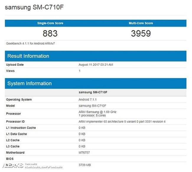 Galaxy C7 (2017) xuất hiện trên Geekbench với vi xử lý MediaTek - ảnh 1